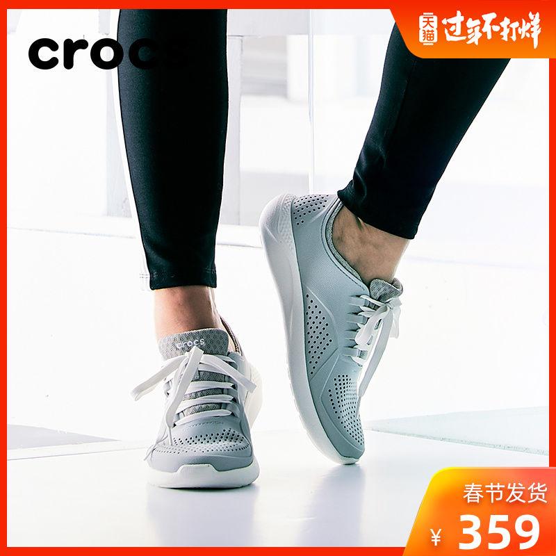 Crocs系带卡骆驰LiteRide浅口徒步v系带女鞋包头休闲鞋|205234
