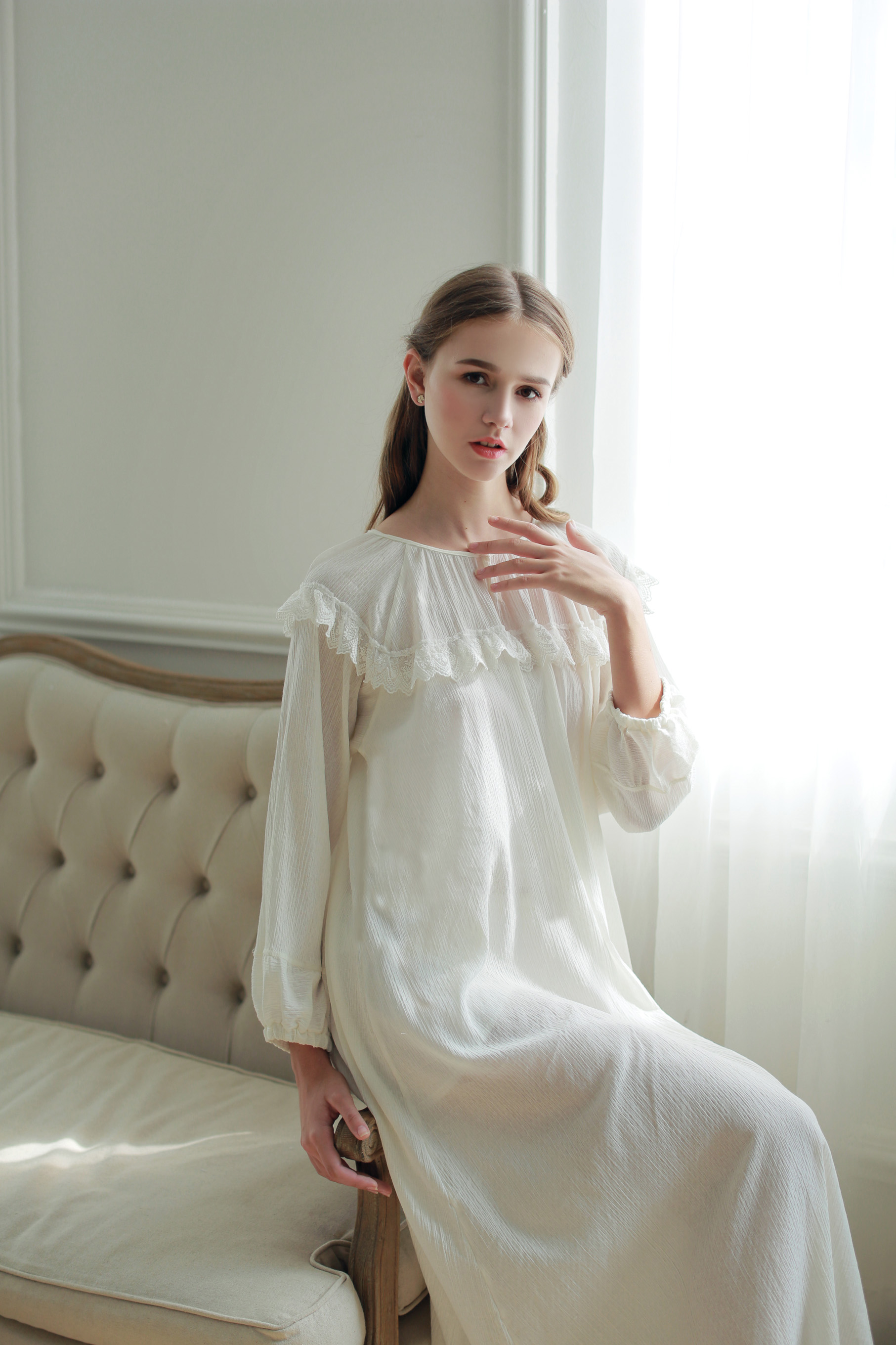 f5325a3977 USD 75.39  HIGHNESS (snow Willow)cotton crepe retro long nightdress ...