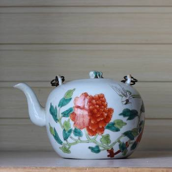 Antique Antiques Miscellaneous Old Porcelain Teapot Decoration Double-sided Painting Peony Flower Physical Photo Collection