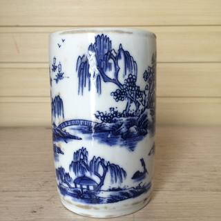 Antique Antique Old Blue and White Porcelain Pen Holder Decoration Four Treasures of the Study Handmade Painting Landscape Collection