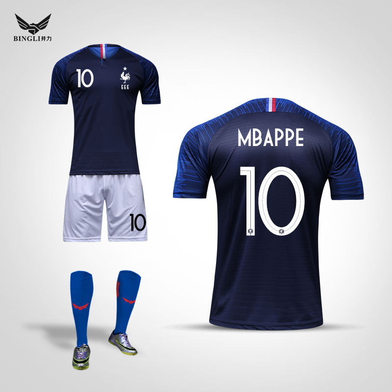super popular 7ade1 f1aef France team jersey 2018 World Cup Griezmann Mbappe Pogba custom children's  football Suit Suit male