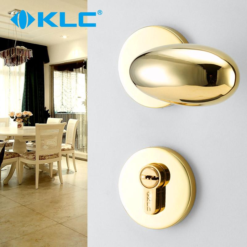 KLC简约室内房门锁具欧式PVD金卧室实木房门机械门锁蛋形把手