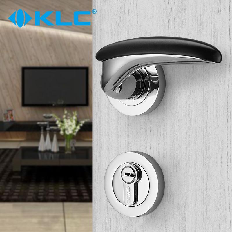 klc门锁室内卧室美式静音实木门锁撞色房间门把手家用通用型锁具