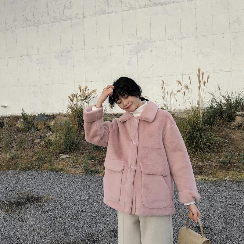 JHXC仿毛绒绒上衣一体外套女加厚2018冬季新款宽松水貂夹克皮毛