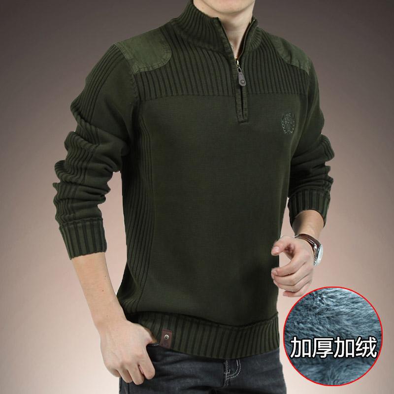 2b25acdb066 Свитер мужской Свитера Зимние мужские стенд воротник плюс бархат плюс  толстый пальто свободные вязать свитер половина