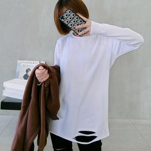 官网图 2019新款日韩下摆破洞长袖T恤女中长款上衣内搭打底衫潮
