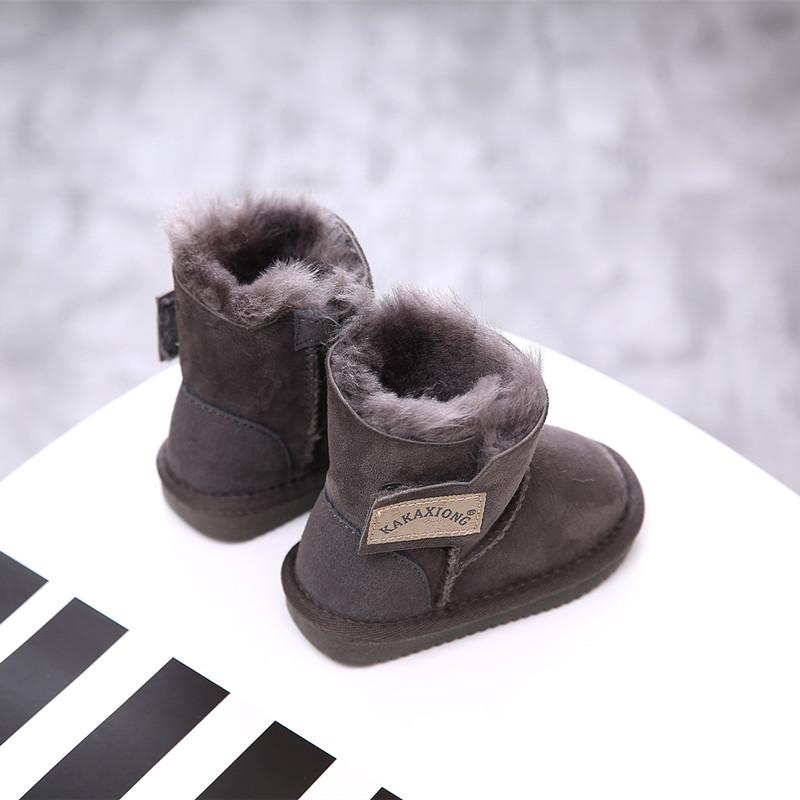 Овчина шерсть детские угги детские женщина ботинки Ребенок 1-3 мужской на младенца ребенок, начинающий ходить зимний Мягкое основание ботинки с утеплением