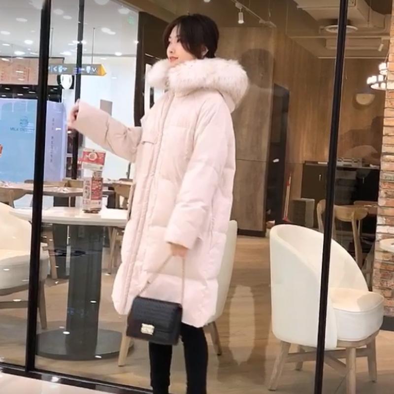 毛毛口袋外套羽绒服女2018冬季新款韩版大毛领宽松中长款加厚时尚