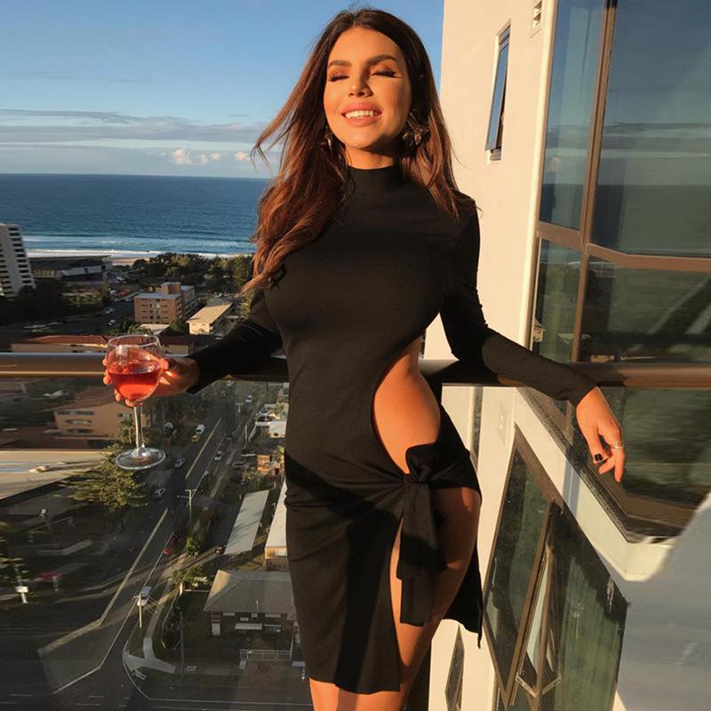 高领新款长袖露腰露臀中系带纯色欧美镂空修身侧长裙开叉连衣裙