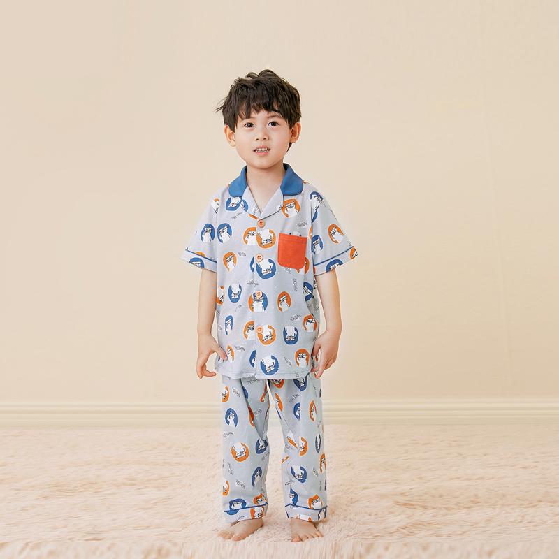 【欧麦兜】纯棉短袖长裤薄款男童家居服