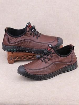老北京布鞋男软底舒适休闲鞋一脚蹬透气防臭男鞋秋季中年仿皮布鞋