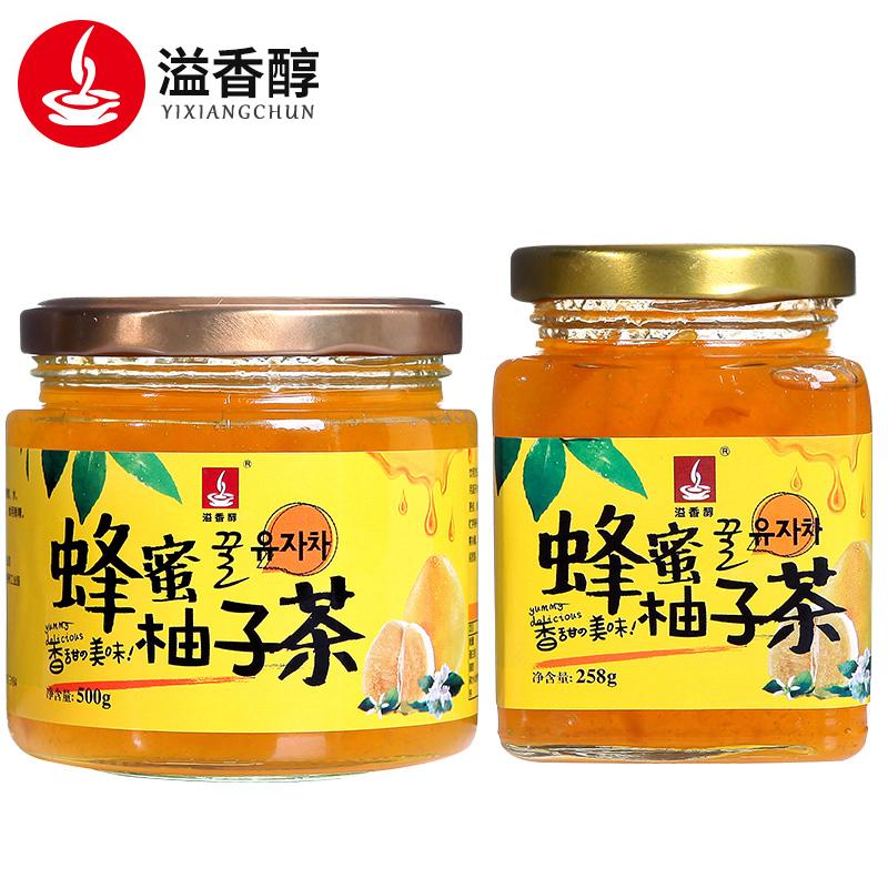 溢香醇蜂蜜柚子茶758g罐装蜜炼冲饮水果茶果酱冲水喝的饮品饮料