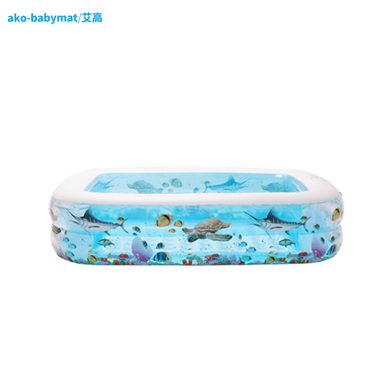 【艾高】儿童透明泡泡底1.2米充气游泳池