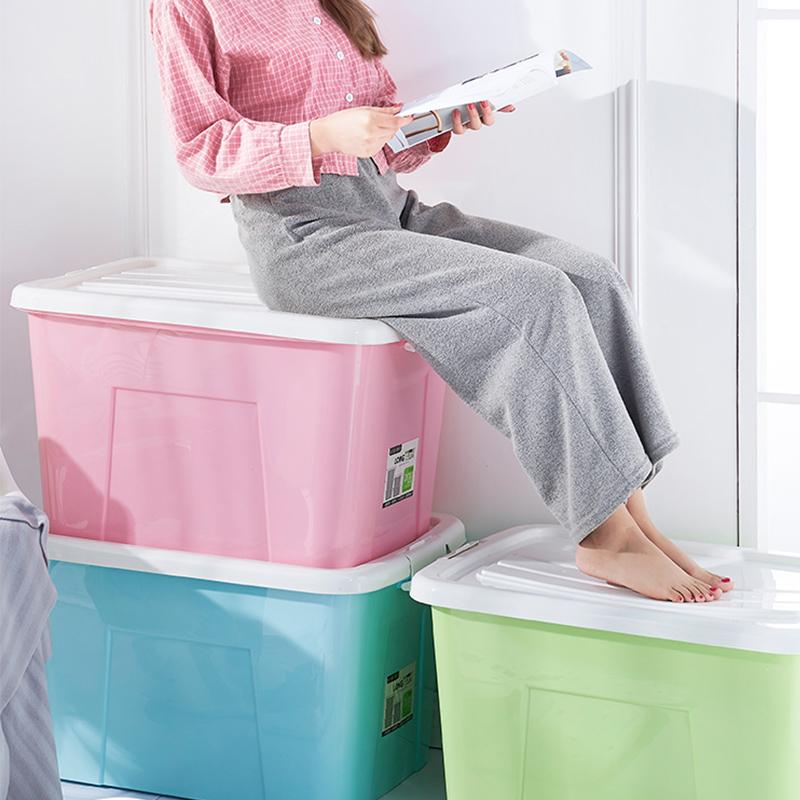 特大号塑料收纳箱子衣服家用整理超大容量清仓透明玩具储物盒有盖