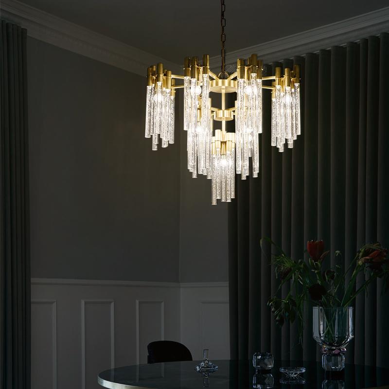 После современный все медь гостиная люстра свет экстравагантный атмосфера кристалл пузырь новый классическая вилла большой зал американский магазин освещение