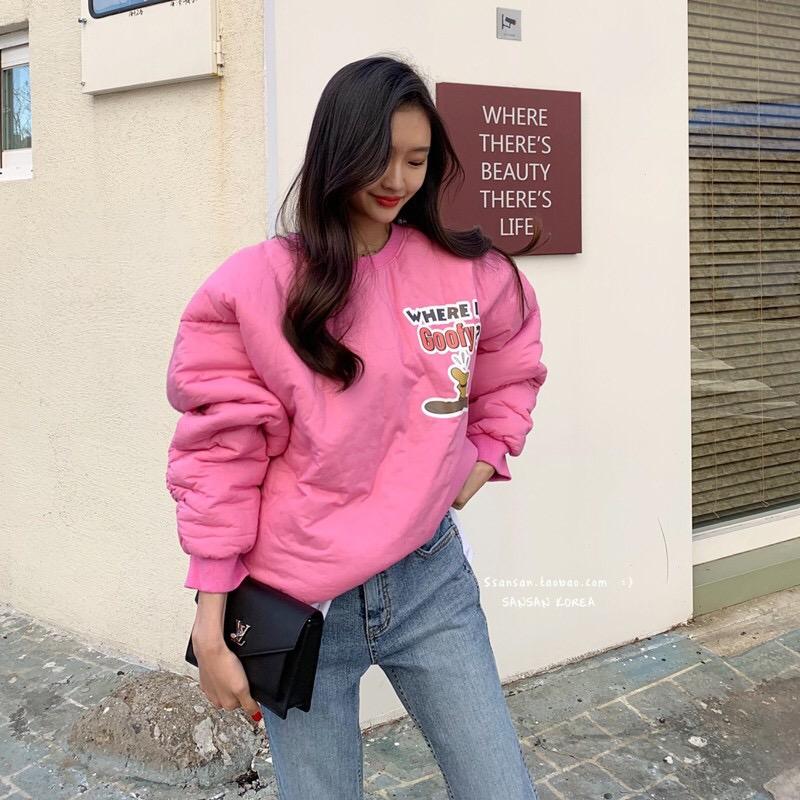 韩国东少女2019新款卡通女装可爱百搭大门印花太空棉套头卫衣