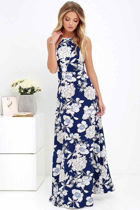 LASPERAL Womens Summer Maxi Dresses New Arrival Ladies Boho Dress Sleeveless Blue Halter Neck Floral Print Vintage Long Dress 6
