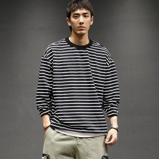 Maceda loose casual striped round neck tee male autumn trend Japanese retro long-sleeved bottoming T-shirt sea soul shirt
