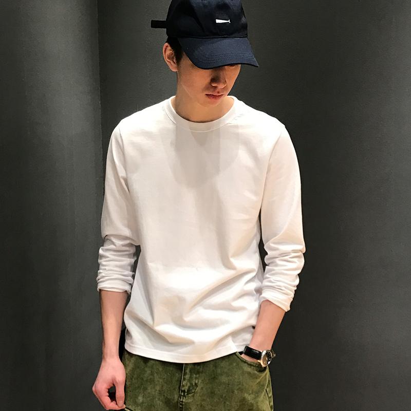 春季韩版棉质春夏内搭打底衫男士日系白色简约T恤潮圆领长袖体恤