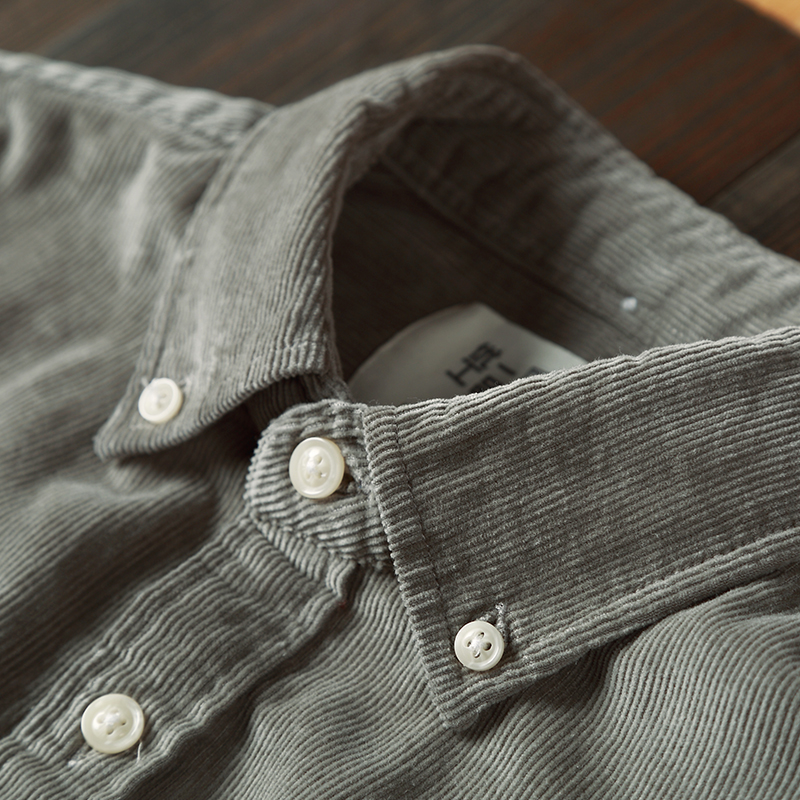 春款灯芯绒衬衫男长袖纯棉男装条绒衬衣灯芯绒外套男日系ifashion