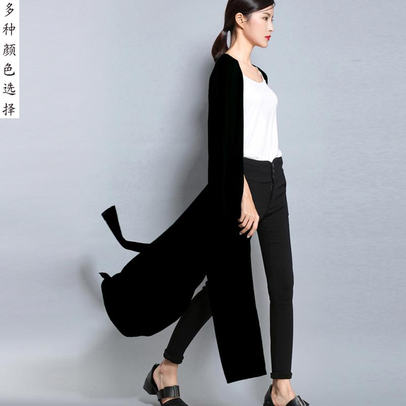 AMOU 韩国单外套慵懒女秋冬超长款针织学院风宽松大码毛衣棒球服