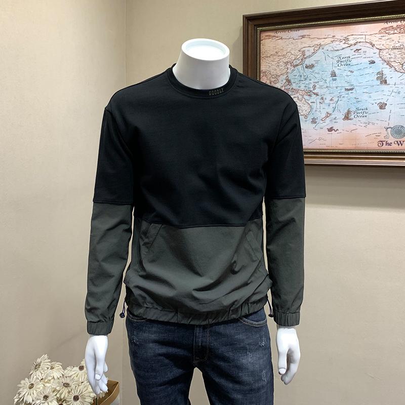 2019 mới mùa xuân và mùa thu nam mặc áo len cổ tròn áo len thủy triều thương hiệu khâu xu hướng áo khoác rộng giản dị - Cao bồi