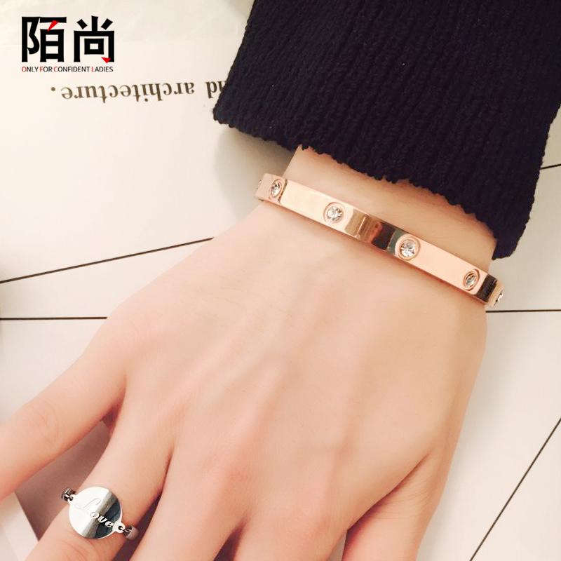 Tình yêu vòng tay nữ vài vòng đeo tay mạ 18k tăng vòng đeo tay vàng titan thép vòng đeo tay nam giới đồ trang sức có thể được chữ quà tặng
