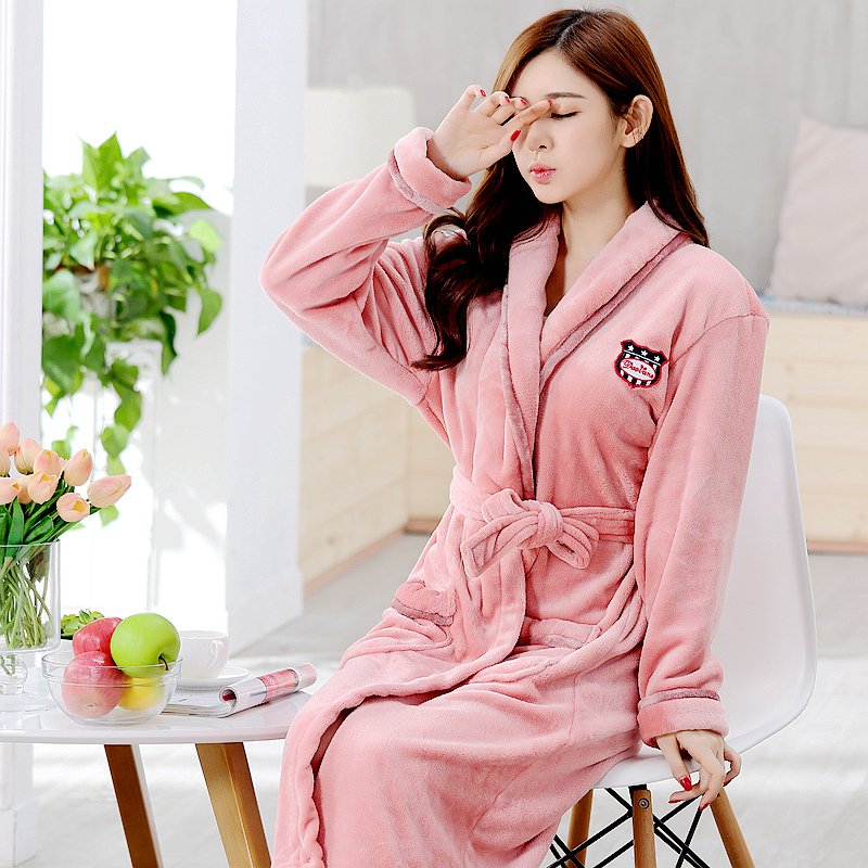 de810623ae Autumn and winter sexy cute bathrobe coral velvet flannel thickening  long-sleeved nightgown ladies warm pajamas home service
