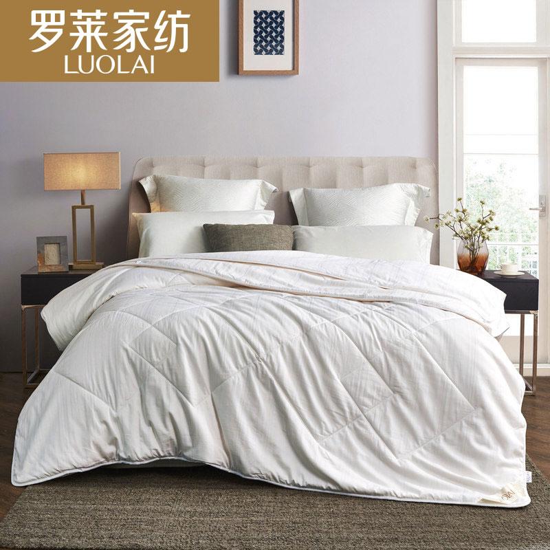 羅萊家紡床品二合一全棉提花蠶絲被被子被芯1.5-1.8米