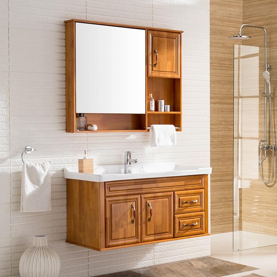 克麗菲兒浴室柜組合美式簡約實木洗漱臺田園衛浴柜洗臉盆柜衛生間