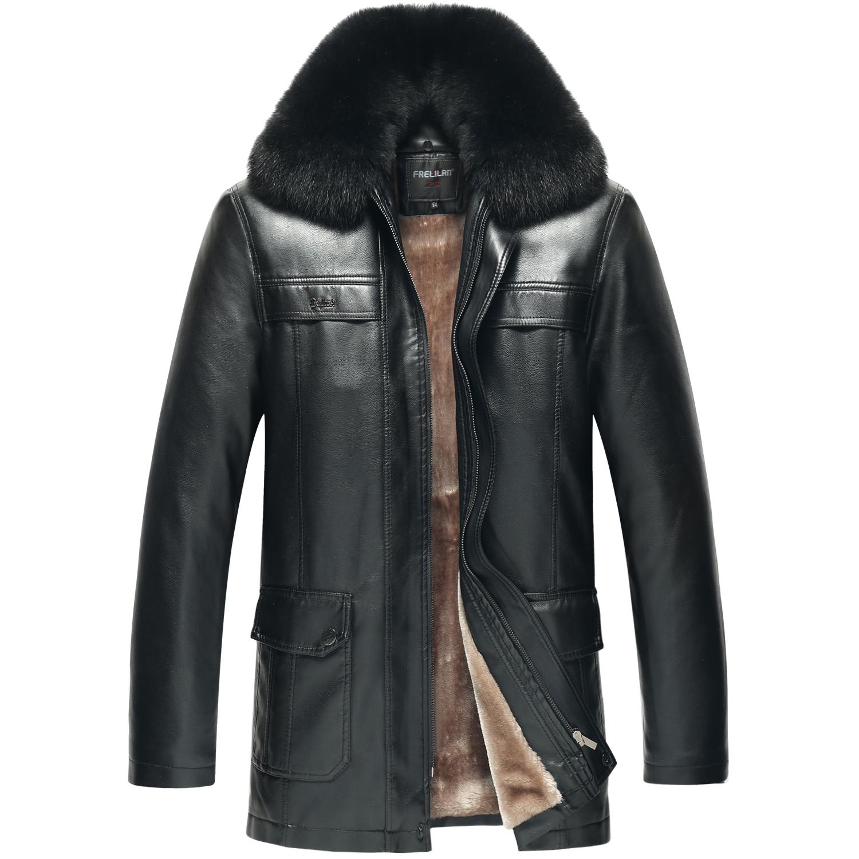 冬季中长款大码中老年皮毛男外套一体皮大衣大毛领PU皮皮衣爸爸装