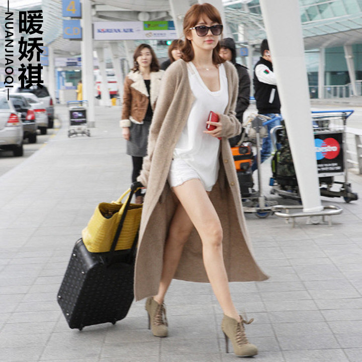 韩国代购秋冬女装宽松针织线衣 加厚复古粗线超长款毛衣开衫外套