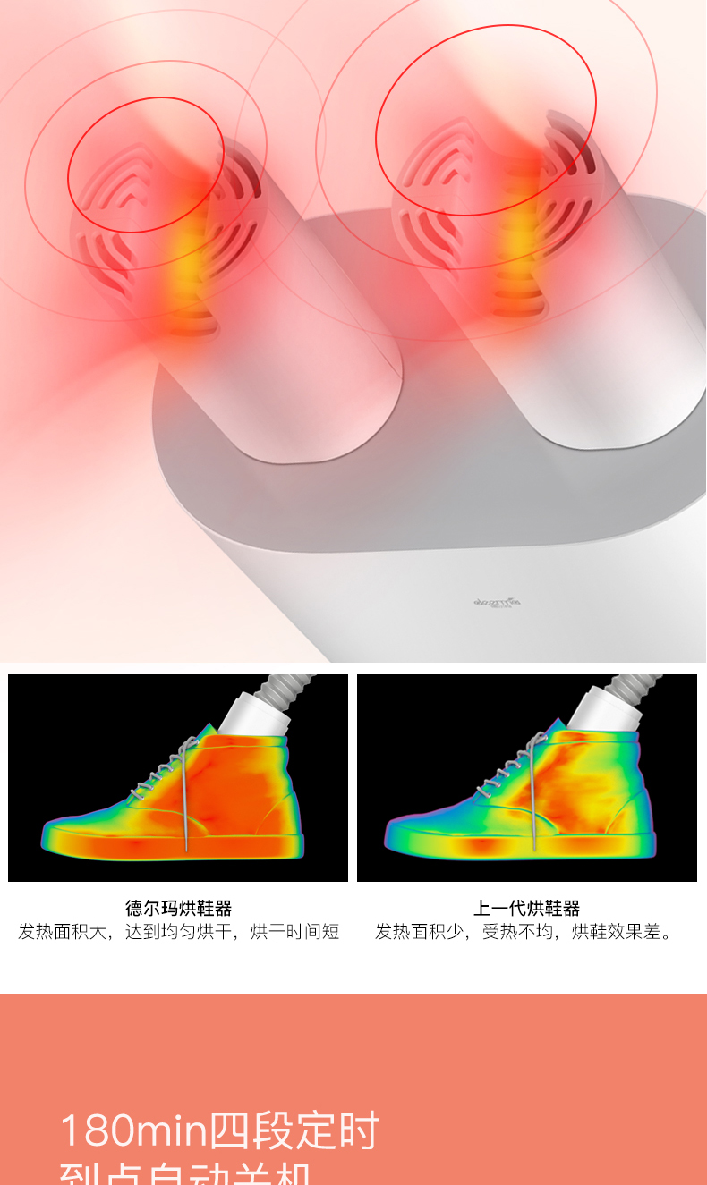 德尔玛 除臭杀菌烘鞋器 干鞋器 可释放臭氧杀菌 图16