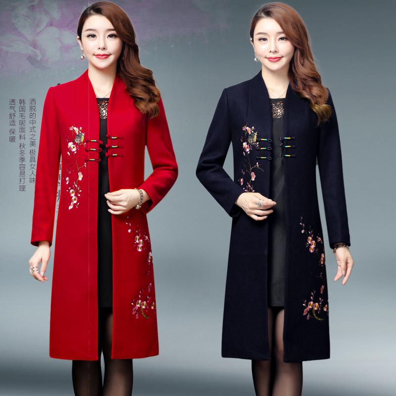 妈妈装秋冬装新款女装2018中老年人中长款毛呢子宽松外套开衫上衣