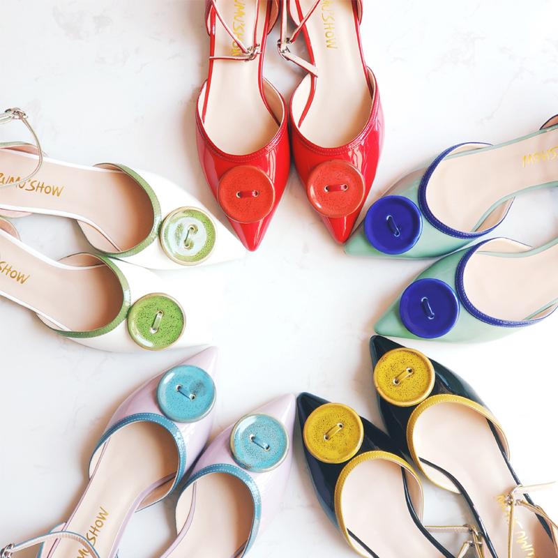 ZUMU'SHOW东方瓷韵系列系带女鞋尖头低跟品牌设计师凉鞋漆皮