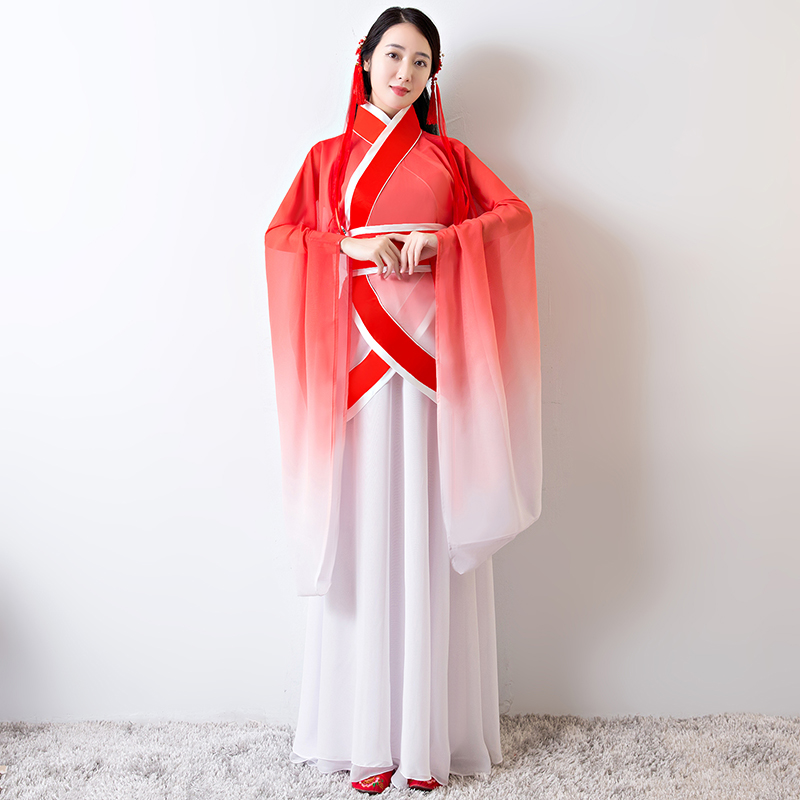 6b2af107c Costume costume fairy princess hanfu improved female chiffon skirt classical  dance wide sleeve stage costume three-piece