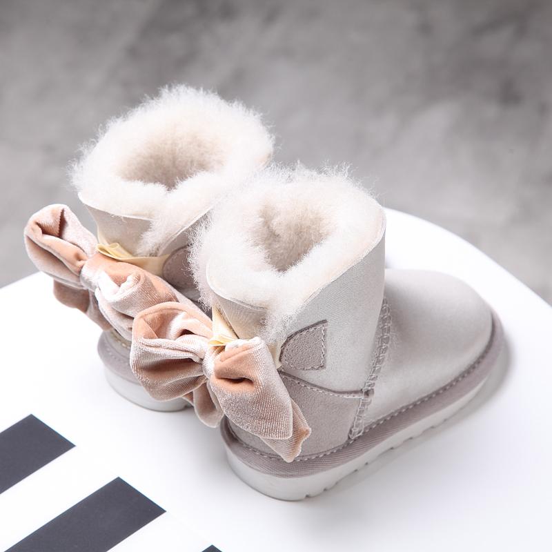 皮毛儿童靴棉鞋一体公主冬季鞋防水加绒宝宝女童1-3a皮毛防滑雪地