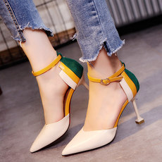 Sandals female summer 2019 new Korean version of the Baotou word buckle with high heels pointed stiletto casual wild women's shoes tide