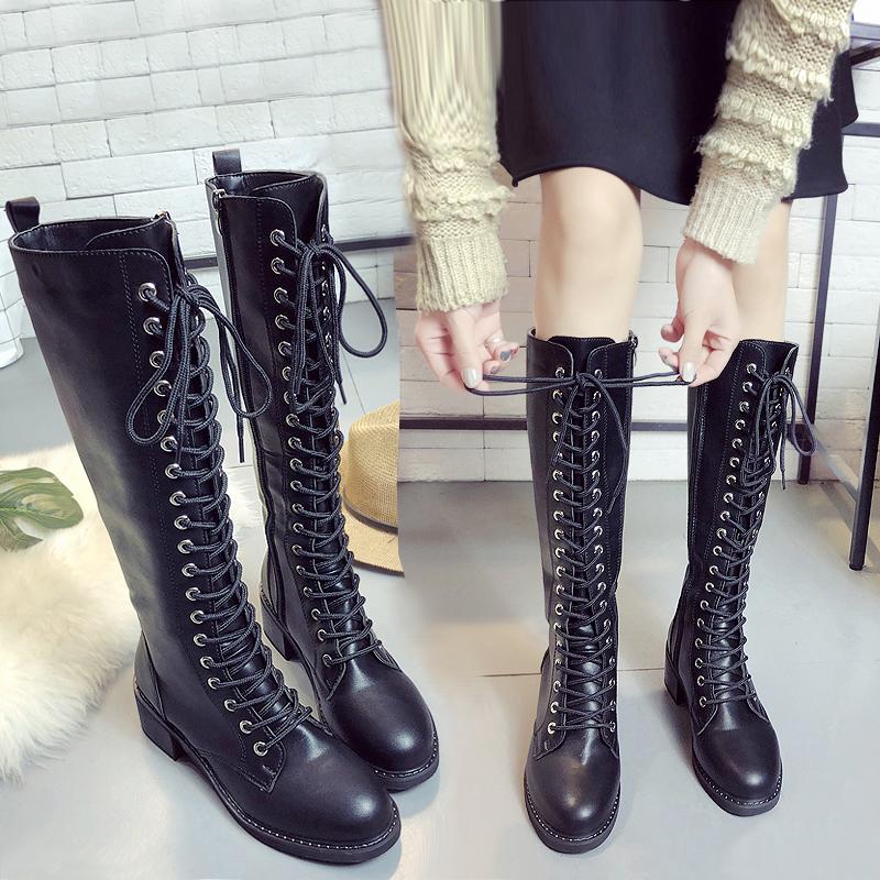 秋冬新款骑士长靴子系带加绒高筒靴粗跟长筒马丁靴及膝靴英伦女靴