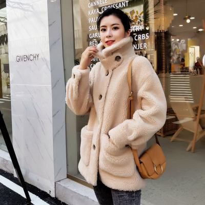 Haining fur anti-season grain sheep sheared coat female Anna seedlifeng integrated cashmere lamb coat short women