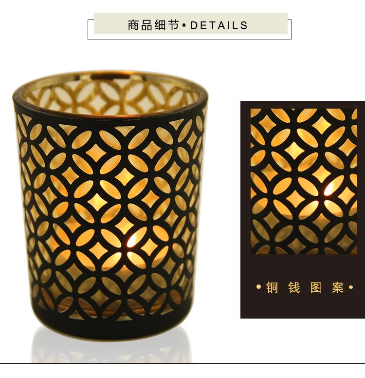 熱銷#簡約現代黑金幾何圖案玻璃燭臺DIY香薫空杯浪漫擺設送電蠟#燭臺#裝飾