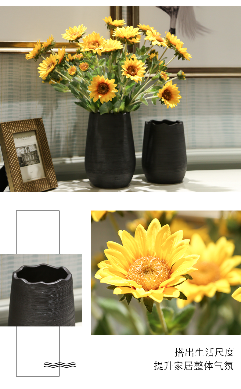 Nordic ceramic vase furnishing articles flower arranging flowers, dried flowers sitting room living room TV cabinet table European - style decorative household items