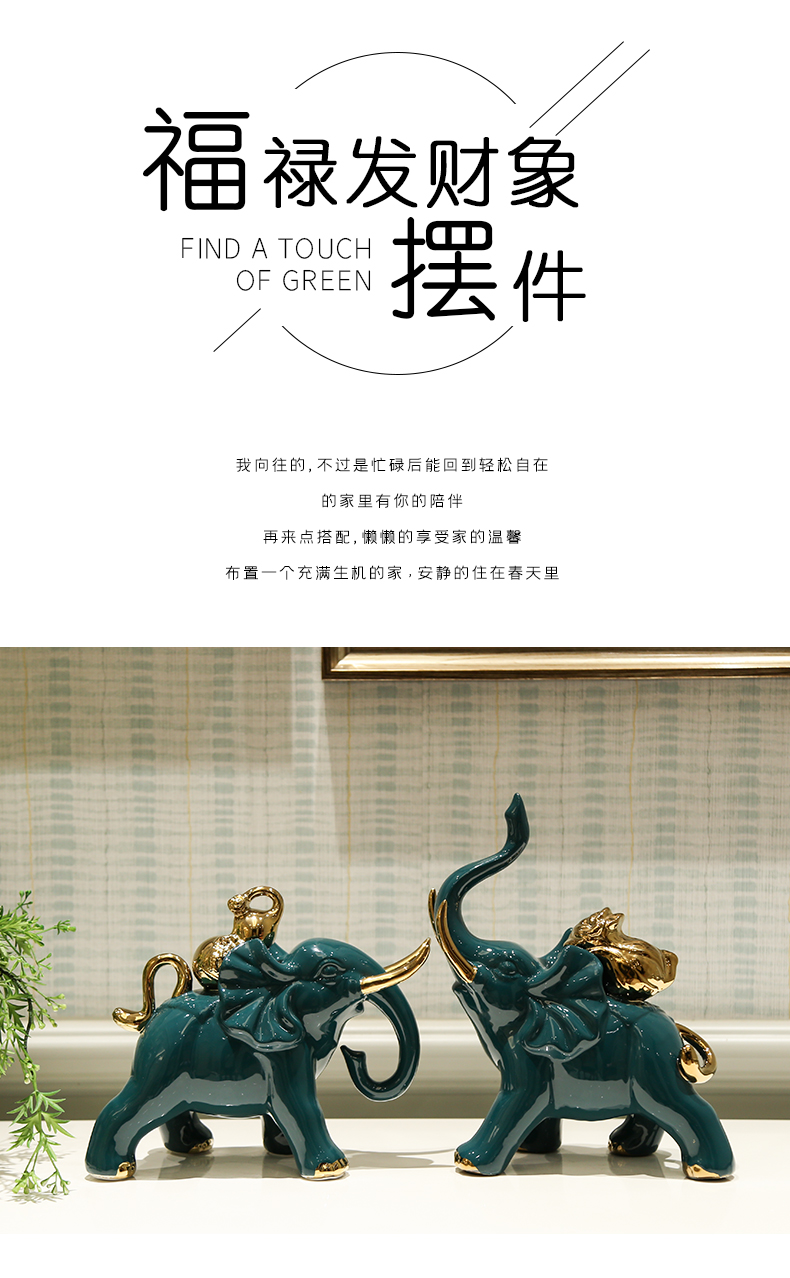 Nordic light much creative wine accessories ceramic lucky elephant sitting room porch and TV ark, home furnishing articles furnishing articles