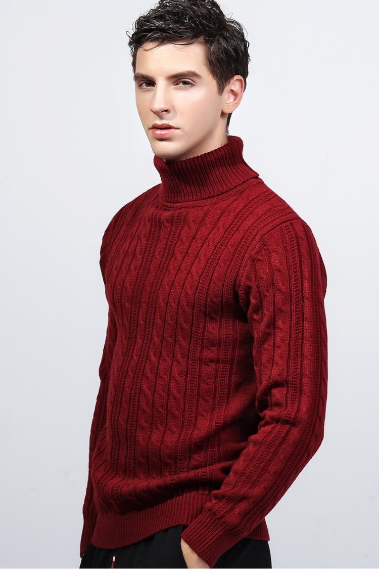 Áo len nam cổ cao dày 2019 mùa thu đông nam quần áo cộng với áo len nhung học sinh Áo len mỏng màu đen Hàn Quốc - Áo len