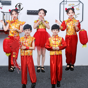 Chinese dragon drummer performance costumes for boy girls New year Day children performance clothing spring festival celebrates the new year Day