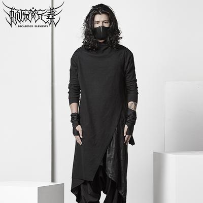 颓废元素暗黑不对称高领T恤日系长款潮男士个性ro打底衫黑色修身