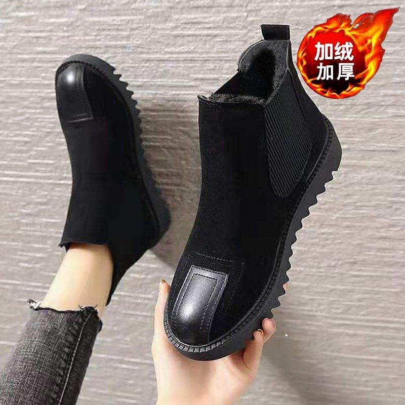 2020冬季新款加绒靴平底女短筒厚底棉靴复古短靴百搭加绒女靴子