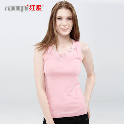 Red Ni underwear new summer women's full cotton slim slim thin bottoming shirt lace flower border wild wearing vest