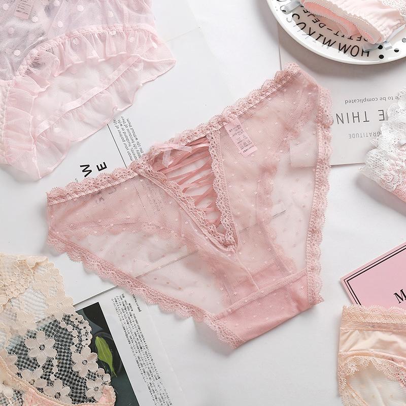 Cô gái màu hồng Nhật Bản trái tim châu Âu và Hoa Kỳ eo thấp mờ cám dỗ quần lót ren mỏng gợi cảm của phụ nữ lớp bông - Eo cao