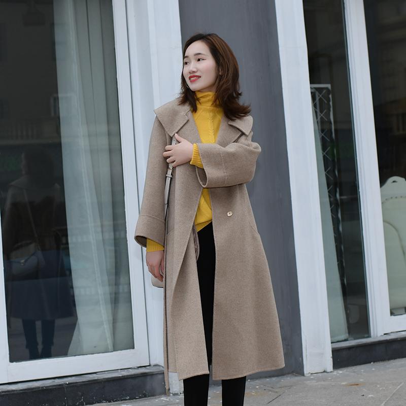 Áo khoác len nữ mới 2020 Phiên bản Hàn Quốc của áo khoác cashmere hai mặt nữ Áo khoác len nữ dày qua đầu gối mùa đông dài - Áo Hàn Quốc